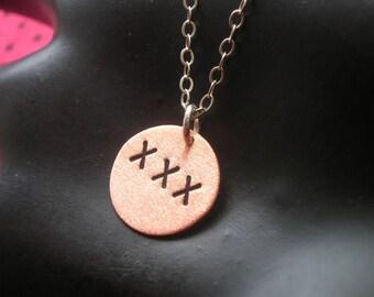 Triple X, Naughty Girl, Erotic Jewelry, Slut, Whore, Sex, Porn, XXX, Copper Disc Necklace, Copper Charm, Small Charm, Small Circle Charm