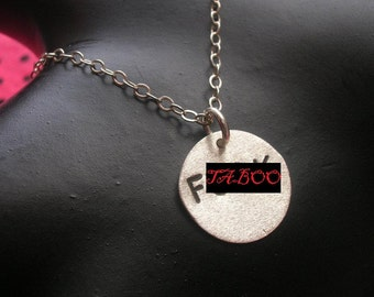Vulgar, Sterling Silver Disc Necklace, Fuck Necklace, Profanity, Circle Necklace, Round Charm Necklace,Sterling Pendant, MATURE, Metal Taboo