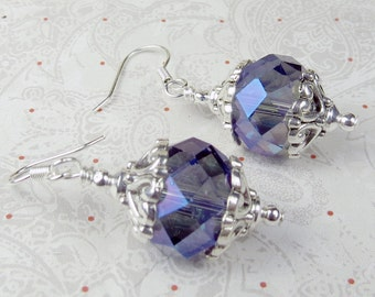 Medium Blue Crystal faceted Rondel earrings with silver plated bead caps for holidays