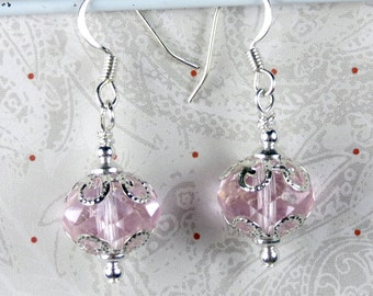 Light Pink Crystal faceted Round earrings with silver plated bead caps for holidays