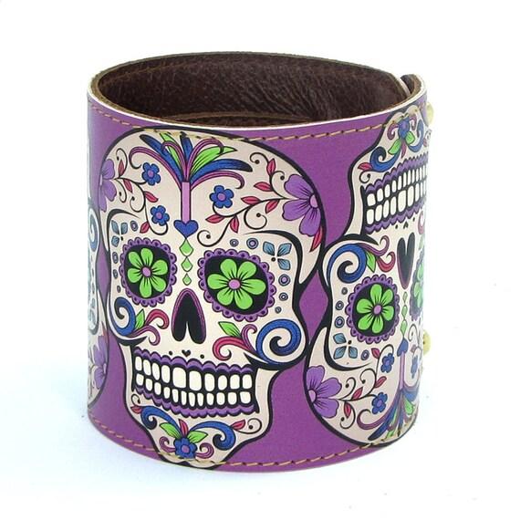 Leather cuff / wallet wristband - Sugar Skulls in Purple