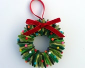 Rescued Wool Wreath Ornament - Mixed Greens with Pom Poms - recycled wool wreath by alicia todd