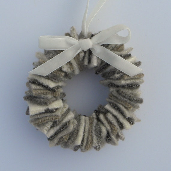 Rescued Wool Wreath Ornament - Sweater Wreath in Stone - recycled  wool wreath by alicia todd