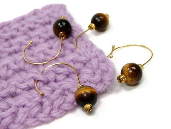 Removable Stitch Markers Set, Crochet, Snag Free, Beaded, Tiger's Eye, Brown, Gold, DIY Crafts, Gift for Crochet, TJBdesigns