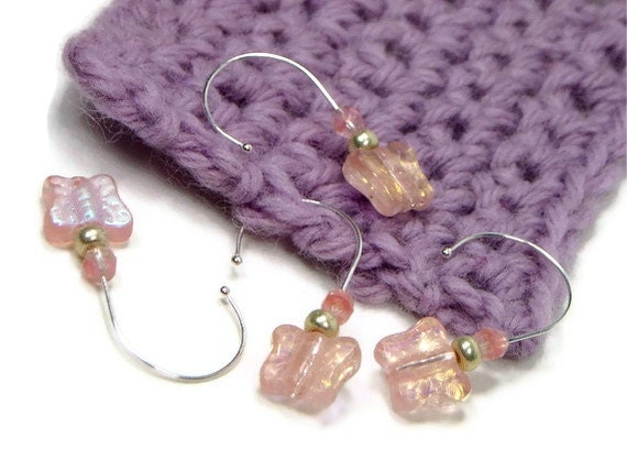Crochet Stitch Markers Set, Removable, Beaded, DIY Crafts, Gift, Pink Butterfly, TJBdesigns