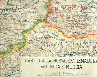 1940 Spanish Vintage Map of New Castile, Estremadura, Valencia, and Murcia