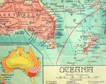 1940 Spanish Vintage Map of Oceania - Vintage Oceania Map