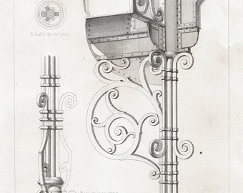 1880 French Antique Engraving of Decorative and Architectural Metalwork. Details of Marquee in Laval, France. Plate 2