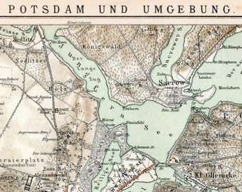 Antique Map of Potsdam and Environs - 1895 German Vintage Map