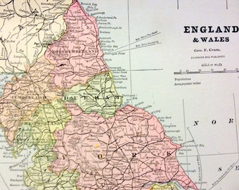 1888 Antique Map of England and Wales - Antique England Map - Antique Wales Map