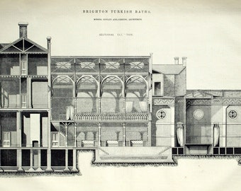 1869 English Antique Engraving of the Brighton Turkish Baths (Sectional Elevation)