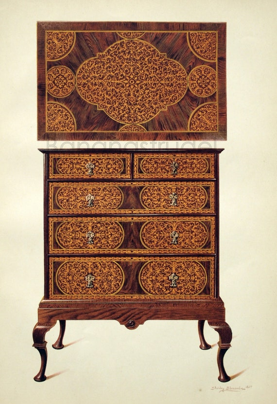 1905 Large Antique Chromolithograph of English Furniture. Chest of Drawers Inlaid with Marqueterie. No. 1