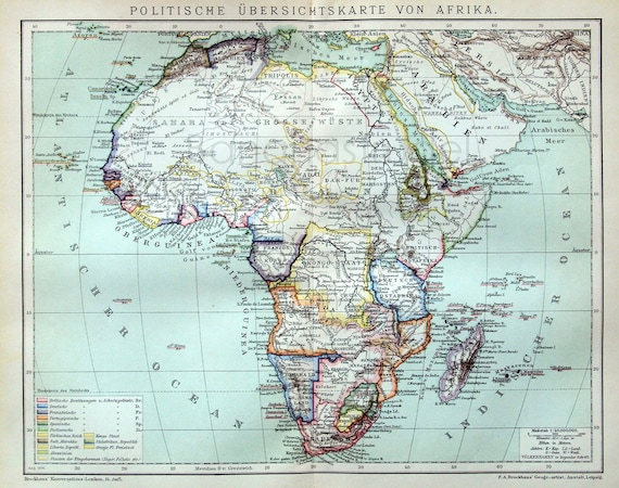 1894 German Antique Political Map of Africa