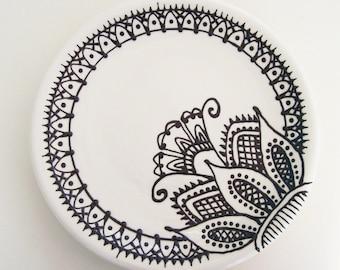 "Henna Design Plate 8"" Dia. - Ready to Ship"