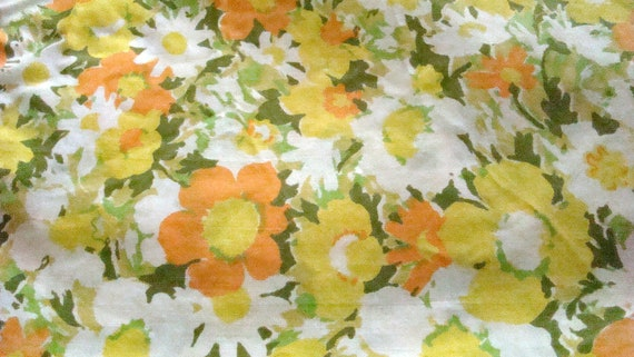 Vintage California King Floral Fitted Yellow Sheet / Reclaimed Bed Linens / Cutter
