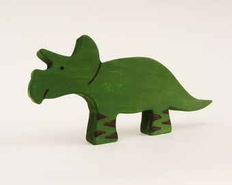 Wooden Triceratops Toy Waldorf natural-  dinosaur dino