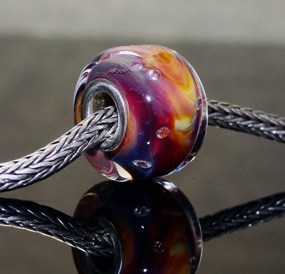 Big hole lampwork glass bead - Big hole bead - Fits Trollbeads - Artisan glass bead - Sweet Bay