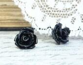 Black Rose Earring Rose Studs Rosebud Earrings Black Rose Stud Earrings Surgical Steel Studs