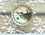 Bottle Cap Necklace, Bird Necklace, Bird Jewelry, Vintage Style Necklace, Bottle Cap Jewelry