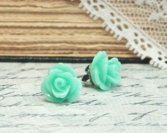 Seafoam Green Earrings Rosebud Earrings Rose Studs Surgical Steel Stud Earrings Rose Stud Earrings