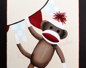 Sock Monkey Nursery Art, Kids Wall Art, Childrens Art Print - Classic Sock Monkey Party Banner 12x12 print
