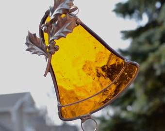 Holly Bell  in Gold Stained Glass Suncatcher