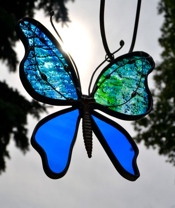 Blue and Green Streaked Stained Glass Butterfly