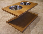 Raised Dog Feeder 1 Qt 8 Inch Double - Zee Design - Elevated Pet Feeder - Raised Dog Bowl - Elevated Dog Bowl - Dog Bowl Stand