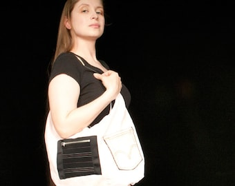 Handbag made from recycled pants