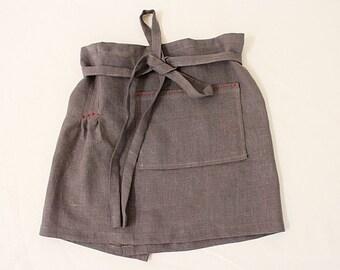 dark gray linen cafe apron