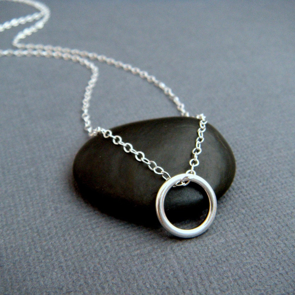 silver ring necklace. small circle necklace. simple everyday