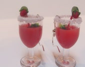 Strawberry Daquiri Cocktail Earrings w/ Tiny Strawberries, Red and White Striped Straw and Sugar Rim