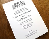 Printable Wedding Invitations - Tandem Bicycle Wedding Invitation - Black and White Wedding Invitations - Instant Download Invitation PDF