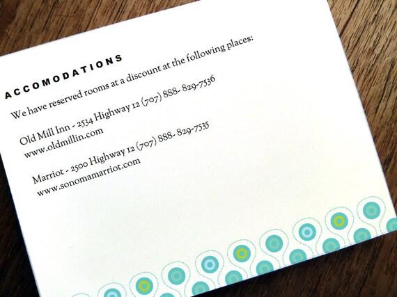 Printable Wedding Information Card - Mod Peacock Pattern