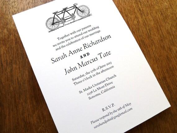 Printable Wedding Invitations - Tandem Bicycle Wedding Invitation - Black and White Wedding Invitations - Instant Download Invitation PDF