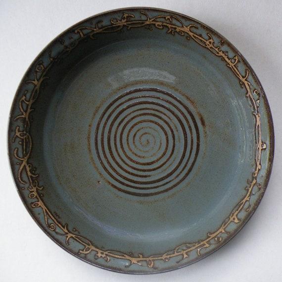 Blue Gray Ceramic Pie Dish - One-of-a-Kind - Grapevine Design - Rustic Stoneware Casserole - Unique Wedding Gift