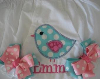 Baby girls bird bloomers, aqua bird bloomers, bloomers with bows, monogrammed bloomers, Bird Birthday, cake smash, personalized bloomers
