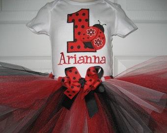 Boutique Red and Black Monogrammed Ladybug tutu set