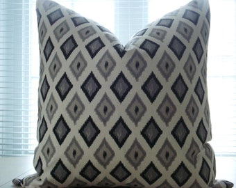 BOTH SIDES- -Decorative Designer  PillowCover- Ikat  Throw /Lumbar Pillow -Charcoal/Black /Ivory/Cream/Greige/Grey,