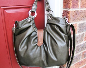 Olive green large leather satchel with pleats backpack and messenger