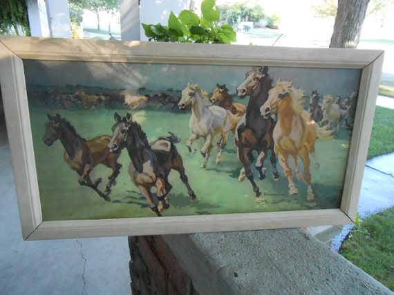 Reserved For Melissa Thundering Herd Vintage Horse Print