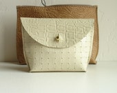 summer white mini Leather Pouch