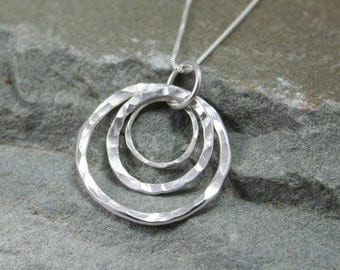Hammered Tripple Silver Ring Necklace