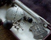 Antique Assemblage Bracelet French Military Dog Tag