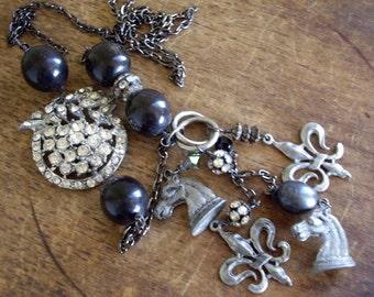Vintage Assemblage Necklace~ Long Vintage Fleur de Lis Charm Necklace