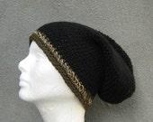 men's slouchy beanie/ deep black wool n' hemp crochet