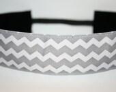 Thick Gray & White Chevron No Slip Headband
