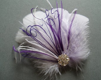 Wedding Bridal Hair Accessories Bride Feather Fascinator, Feather Hair Piece, white, lavender, feather hair clip purple