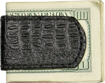 Handcrafted Black Alligator Grain Print Leather Magnetic Money Clip