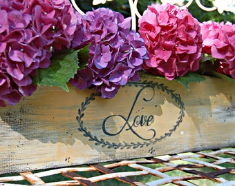 "Rustic ""Love"" Planter Box -medium size- Do it Yourself Wedding Centerpiece, Rustic Wedding Planter 24 inch"